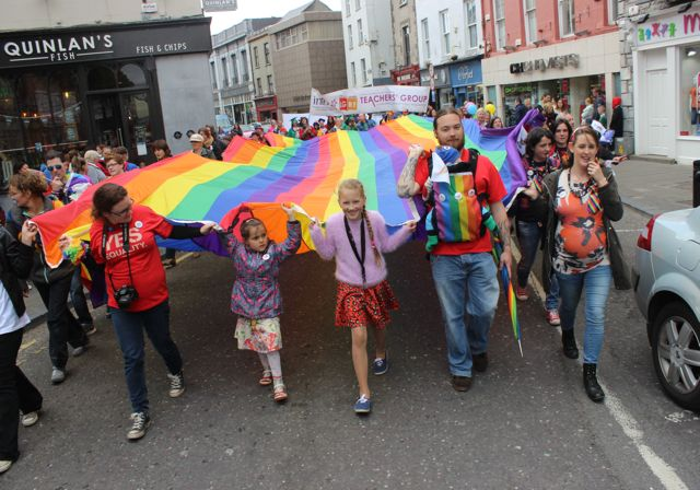 Participants making their way down The Mall during the Kerry Festival of Pride parade on Saturday. Photo by Dermot Crean