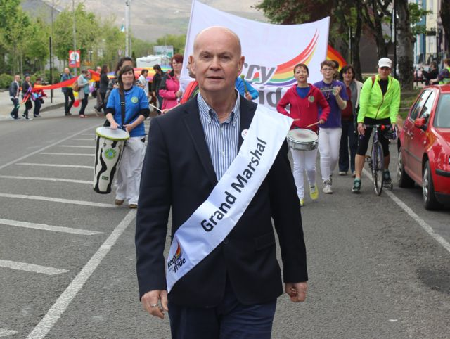 Grand Marshal Pat Carey leading the way at the Kerry Festival of Pride parade on Saturday. Photo by Dermot Crean
