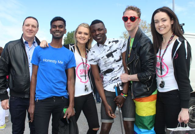 Steven Horan, Ivel Thoppilan, Ailish O'Rourke from SPIN 103FM, Issa Olwengo, Liam Cronin and Lauren Guilfoyle from SPIN 103FM  at the Kerry Festival of Pride parade on Saturday. Photo by Dermot Crean