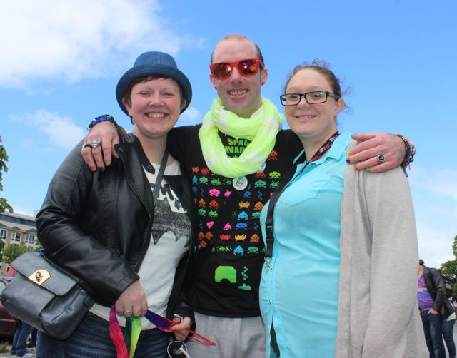 Claire Looney, Thomas Carew and Colleen Sparling O'Riordan at the Kerry Festival of Pride parade on Saturday. Photo by Dermot Crean
