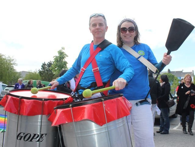 Ted Moynihan and Maria McCarthy of Samba Cuisle at the Kerry Festival of Pride parade on Saturday. Photo by Dermot Crean