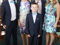 Jack Barrett who made his First Holy Communion at Our Lady and St Brendan's Church on Saturday morning, pictured with family, Adam, Gina, Paudie and Lauren. Photo by Dermot Crean