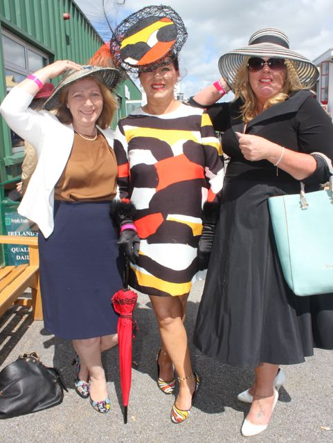 Mary Wallace, Betty MCGrath and Tracy Dowling enjoying Ladies Day at the Listowel Races on Sunday. Photo by Dermot Crean