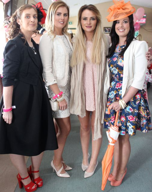 Rhonda Enright, Emer McCarthy, Maura Scannell and Aisling McCarthy enjoying Ladies Day at the Listowel Races on Sunday. Photo by Dermot Crean