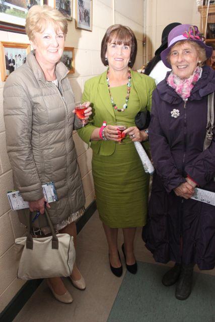 Liz Galvin, Joan Buckley and Margaret McAuliffe enjoying Ladies Day at the Listowel Races on Sunday. Photo by Dermot Crean