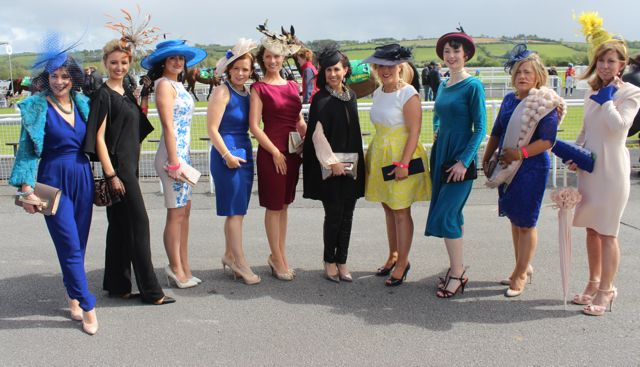 The 10 finalists in the Best Dressed Lady competition enjoying the day at the Listowel Races on Sunday. Photo by Dermot Crean