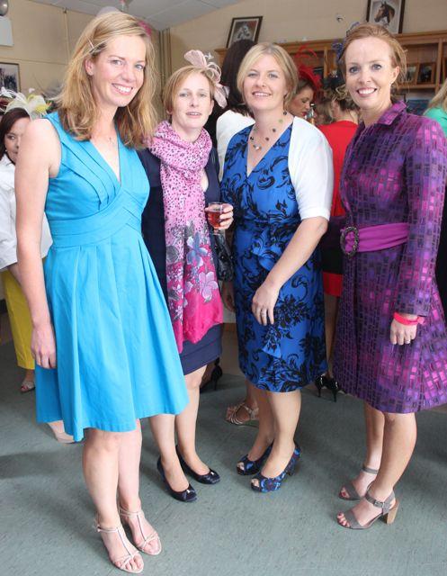 Elaine O'Donoghue, Joanne Lynch, Carol O'Grady and Colette O'Donoghue enjoying Ladies Day at the Listowel Races on Sunday. Photo by Dermot Crean