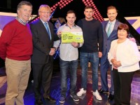 Francis Kenny from Ballyheigue, Co. Kerry has won €16,000 on the National Lottery's The Million Euro Challenge game show on RTE on Saturday 23rd May 2015. Pictured at the presentation of prizes are from left to right: Brendan Moriarty, The National Lottery ticket selling agent, Centra, Ballyheigue, Tralee, Co.Kerry; Eddie Banville, Head of Marketing, The National Lottery; Francis Kenny, the winning player; Alex Kenny, Francis's nephew and guest support on the show; The Million Euro Challenge Host Nicky Byrne and Margaret Moriarty, The National Lottery ticket selling agent, Centra, Ballyheigue, Tralee, Co.Kerry; Pic: Mac Innes Photography