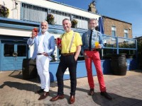 8/4/2015. NO REPRO FEE. Frank Kelly, Tony Daly and Ron Consenheim at the launch of #PaintMyPub, in association with Sandtex and Crown Paints. This new campaign is calling on the people of Ireland to nominate a pub in their area that's in need of an exterior make-over by posting a photo to Crown Paints Ireland's Facebook page or tweeting it to @CrownPaintsIRL with the hashtag #PaintMyPub. Four perfectly imperfect pubs, one per province, will each win an incredible exterior make-over courtesy of Sandtex. For more, visit www.sandtex.ie.Photo: Leon Farrell/Photocall Ireland.