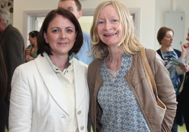 Martha Spangler and Sally Ryle at the opening of the new extension at St Ita's and St Joseph's School on Wednesday. Photo by Dermot Crean