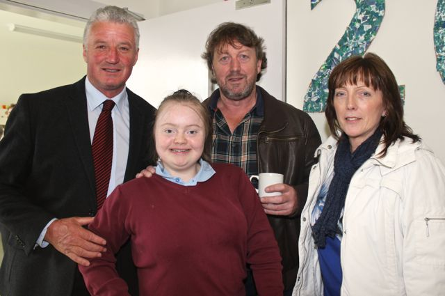 Teacher Michael O'Connor with student Ann Marie Ladden, John and Ann Ladden at the opening of the new extension at St Ita's and St Joseph's School on Wednesday. Photo by Dermot Crean