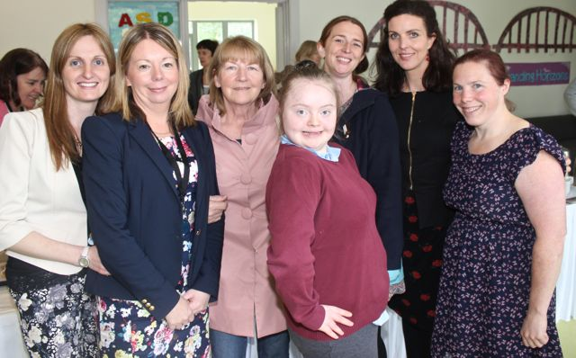 Angelina Moriarty, Noreen Flaherty, Margaret Culloty, Ann Marie Ladden, Linsay Dowling, Nóirín Firtéar and Danielle O'Sullivan at the opening of the new extension at St Ita's and St Joseph's School on Wednesday. Photo by Dermot Crean