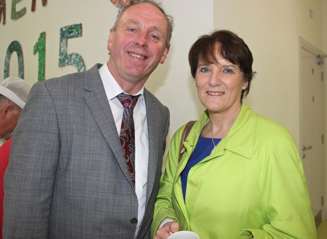 Holy Family NS Principal Ed O'Brien and Principal of Listellick NS Annette Dineen, at the opening of the new extension at St Ita's and St Joseph's School on Wednesday. Photo by Dermot Crean
