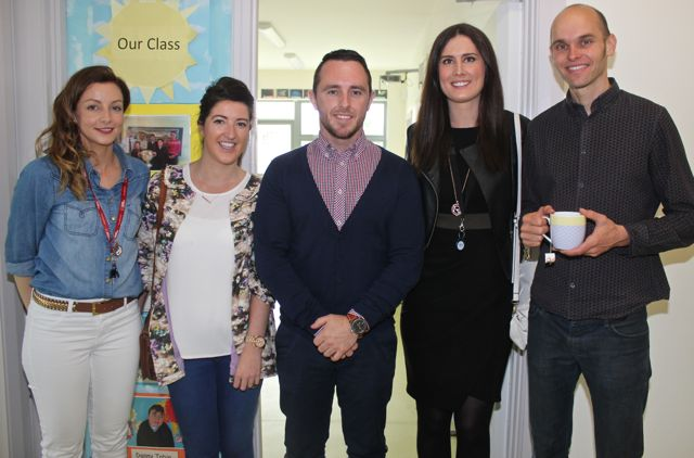 Louise McCarthy, Sarah McGrath, Adrian Sheehan, Olivia Walsh and Martin Scharer at the opening of the new extension at St Ita's and St Joseph's School on Wednesday. Photo by Dermot Crean