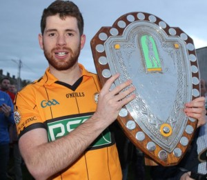 2015 Austin Stacks captain, Barry Shanahan, with the Division 1 County League shield. Photo by Dermot Crean.