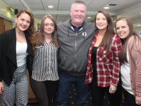 Rebecca Hawkins, Michaela O'Brien, Joe Quirke, Amy Quirke and Sadhbh Lawlor at the Rockies Night At The Dogs on Friday night. Photo by Dermot Crean