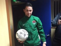 Billy Dennehy, with the match ball after scoring a hat-trick for Cork City against Drogheda last May. Photo by Cork RedFm Sport.