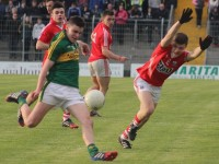 Kerry's Sean O'Shea, attempts a shot on goal. Photo by Gavin O'Connor.