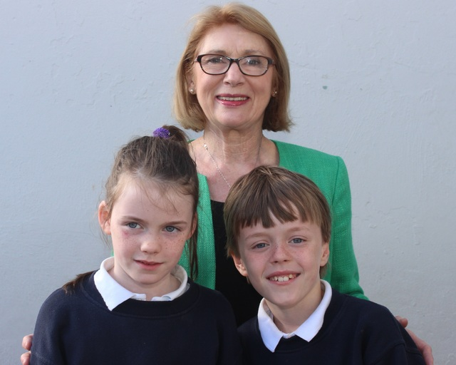 Minister for Education, Jan O'Sullivan, with Blennerville National School students, Millie and Mark O'Brien. Photo by Gavin O'Connor.