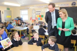 Labour TD for North Kerry, Arthur Spring and Minister for Education, Jan O'Sullivan speak with children in Blennerville National School. Photo by Gavin O'Connor.
