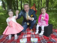 free pic no repro fee Michael Flatley was on hand to support this year's HB Hazelbrook Farm Ice Cream Fundays Campaign in aid of Down Syndrome Ireland.  He was joined by 4 year old Grace Prendergast, Youghal, Cork and 5 year old Ava Ann Barry, Fermoy, Cork. The HB Hazelbrook Farm Ice Cream Fundays Campaign is to encourage people across Ireland to organise their own ice cream party this summer to raise much needed funds for DSI. To get involved simply lo-call 1890 37 37 37 or register online at www.downsyndrome.ie to receive your party pack, which includes vouchers for free HB Hazelbrook Farm ice cream.  pictures Gerard McCarthy 087 8537228 more info contact Aoibhinn Twomey  Fuzion Communications  021 4271234  086 4133031