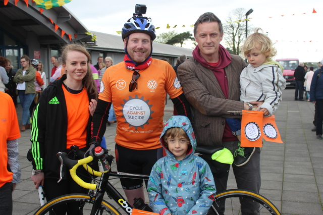 At the 'Live Life Campaign Cycle Against Suicide' on in Mercy Mounthawk were, from left: Sieve Brosnan, Ronan Redican, Sean Kissane, Tom Kissane and in front, Eamon Kissane. Photo by Gavin O'Connor.