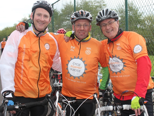 At the 'Live Life Campaign Cycle Against Suicide' on in Mercy Mounthawk were, from left: Derek Feeley, John Laide and Eoin Mullins. Photo by Gavin O'Connor.