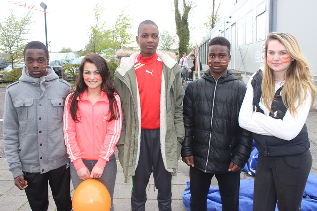 At the 'Live Life Campaign Cycle Against Suicide' on in Mercy Mounthawk were, from left: Nick Mizehi, Juliet Trafney, Osaz Odiahi, Junior Bio, Cara Quinliven. Photo by Gavin O'Connor.