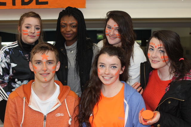 At the 'Live Life Campaign Cycle Against Suicide' on in Mercy Mounthawk were, from left, front, Sam O'Callaghan, Ellen O'Connell and Shelly McKenna. Back: Adele Hennessey, Olamidee Adebay and Tara O'Halloran. Photo by Gavin O'Connor.