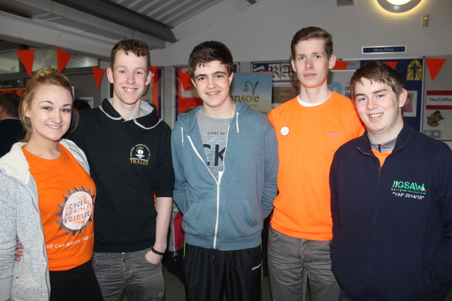 At the 'Live Life Campaign Cycle Against Suicide' on in Mercy Mounthawk were, from left: Eleanor O'Grady, Cathal Sheehan, Conor O'Brien, Niall Buckley and Graham Nelligan. Photo by Gavin O'Connor.