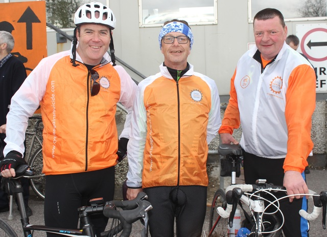 At the 'Live Life Campaign Cycle Against Suicide' on in Mercy Mounthawk were, from left: Darren Nortan, John Kennedy and Dessie Callan. Photo by Gavin O'Connor.