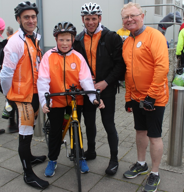 At the 'Live Life Campaign Cycle Against Suicide' on in Mercy Mounthawk were, from left: Dave Kenyon, Jack Walsh, Brian Mulvanny and John Walsh. Photo by Gavin O'Connor.