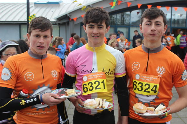 At the 'Live Life Campaign Cycle Against Suicide' on in Mercy Mounthawk were, from left: Sean O'Donoghue, Niall O'Mahony and Tomas O'Connor. Photo by Gavin O'Connor.