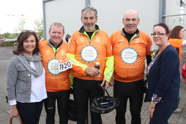 At the 'Live Life Campaign Cycle Against Suicide' on in Mercy Mounthawk were, from left: Claire Feehan, Paul Shhehan, Mick Duffy, John Sheehan and Aina Sheehan. Photo by Gavin O'Connor.