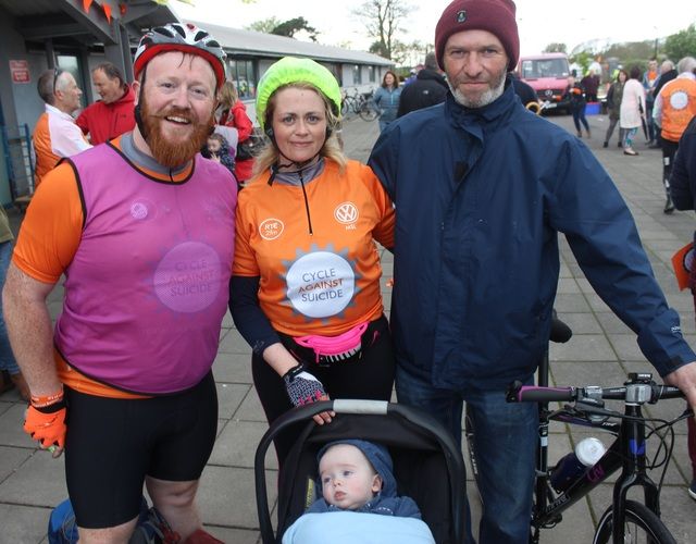 At the 'Live Life Campaign Cycle Against Suicide' on in Mercy Mounthawk were, from left: Christy Bannon, Caroline Keane, Brendan Keane and in front, John Keane. Photo by Gavin O'Connor.