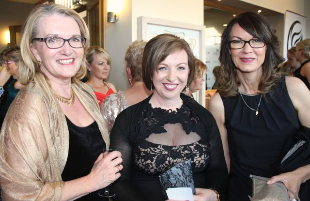 Mary Beary, Antoinette Butler and Connie Riepshoff at the Connect Kerry Lee Strand Women in Business Awards at the Ballyroe Heights Hotel on Friday night. Photo by Dermot Crean