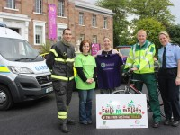 At the launch of the Kerry Emergency Services Cycle, were from left, John O'Donnell (Fire Service), Edele Hobbert (South West Counselling Centre), Kathy Murphy (Tralee Garda Station), Gearoid Constable ( Paramedic and HSE Ambulance), Deardre Quinn (Tralee Garda Station). Photo by Gavin O'Connor.