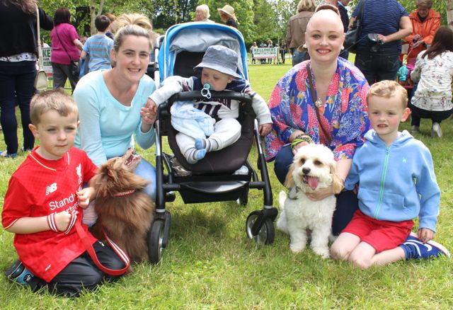 Cody Shanahan, Trisha Murphy, Patrick Shanahan, Claire Dwane and Eoin Dwane with 'Gizmo' and 'Toby' at the Féile na mBláth Dog Show in the Town Park on Saturday. Photo by Dermot Crean