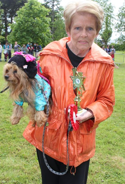 Marie Maguire and 'Benny' winner of the Fancy Dress category at the Féile na mBláth Dog Show in the Town Park on Saturday. Photo by Dermot Crean