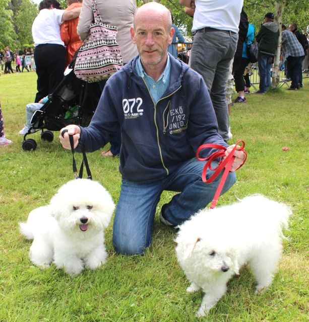 Pat Curran with 'Snuggles' and 'Spartacus' at the Féile na mBláth Dog Show in the Town Park on Saturday. Photo by Dermot Crean