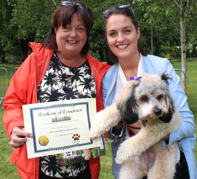 Mary and Clare Daly with 'Ruby' at the Féile na mBláth Dog Show in the Town Park on Saturday. Photo by Dermot Crean