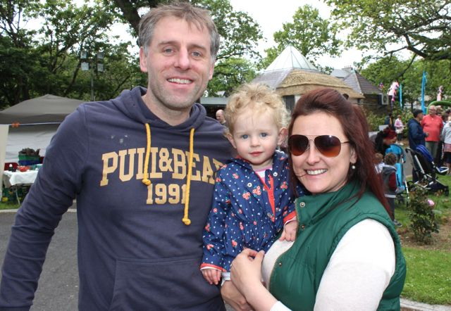 Alex O'Donovan, Sadie and Jenny Pye at the Féile na mBláth in the Town Park on Saturday. Photo by Dermot Crean