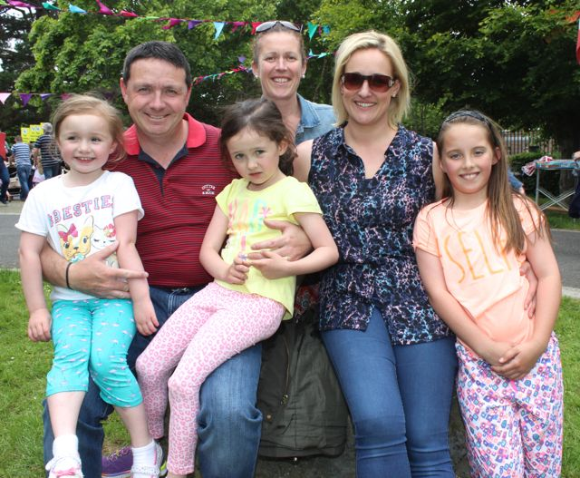 Ciara, Brian, Emma and Karen Hayles with Lily Collins and Sharon Cregan at the back at the Féile na mBláth in the Town Park on Saturday. Photo by Dermot Crean
