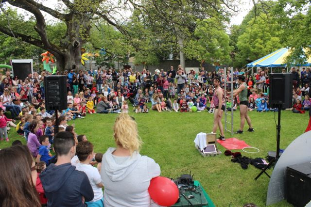 A large crowd watching the entertainment at the Féile na mBláth in the Town Park on Saturday. Photo by Dermot Crean