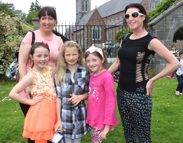 Helena and Bridget Coffey with Alysha Coffey, Orana and Shania Coffey at the Féile na mBláth in the Town Park on Saturday. Photo by Dermot Crean