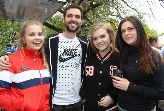 Bebhinn Keane, Neil Burns, Laoise Keane and Ciara Sheridan at the Féile na mBláth in the Town Park on Saturday. Photo by Dermot Crean