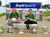 Kerry Senior Football & Hurling Team Captains Kieran Donaghy and John Griffin at the Kingdom Greyhound Stadium with the 6 All Ireland Winning Football and Hurling Trophies which will be on Display during the Race of Champions night. © 2015 www.deniswalshphotography.com