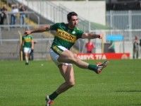 Bryan Sheehan sends in a thunderous effort. Photo by Dermot Crean.