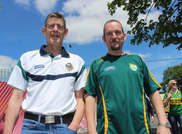Martin Knightly and Eugene Fitzgerald in Thurles for the Tipperary v Kerry match on Sunday. Photo by Dermot Crean