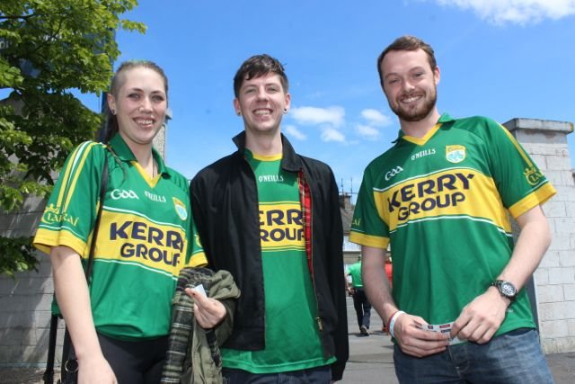 Keeva O'Connor, Chris Finucane and Kevin Fitzmaurice in Thurles for the Tipperary v Kerry match on Sunday. Photo by Dermot Crean